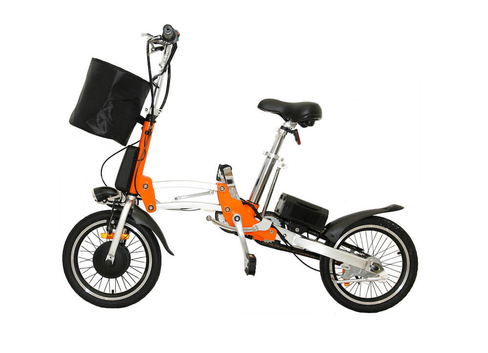 Orange 1 Sec Folding eBike – 16″ Tire -Unfolded Position with Basket